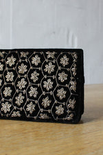Metal Embroidered Velvet Clutch