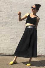 Black Flared Midi Skirt S