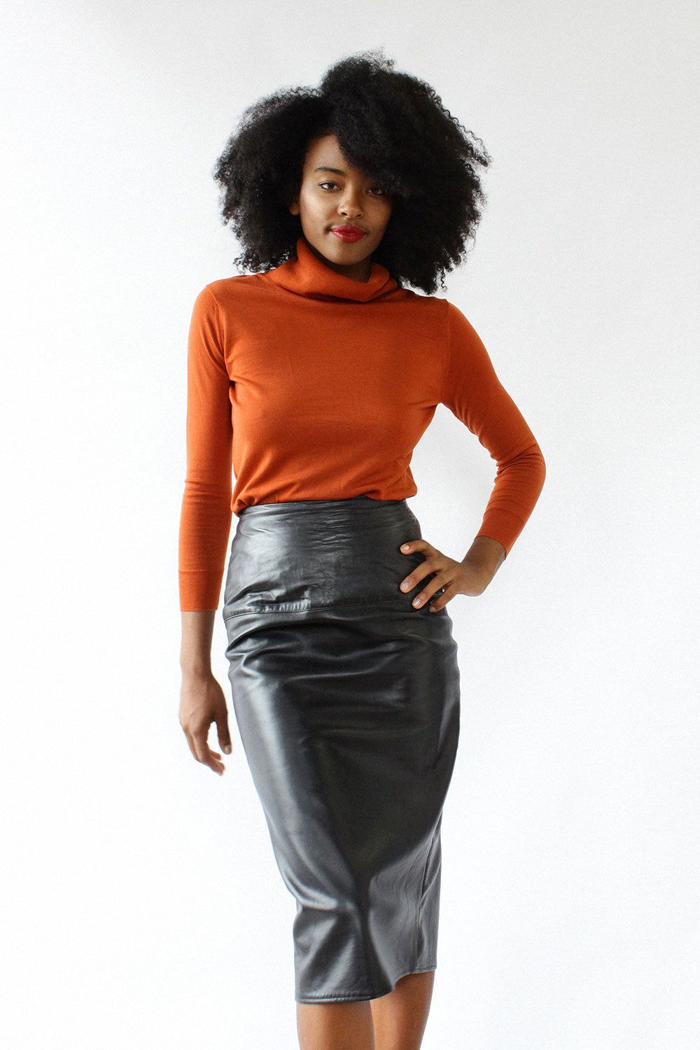 Buttery Leather Pencil Skirt XS