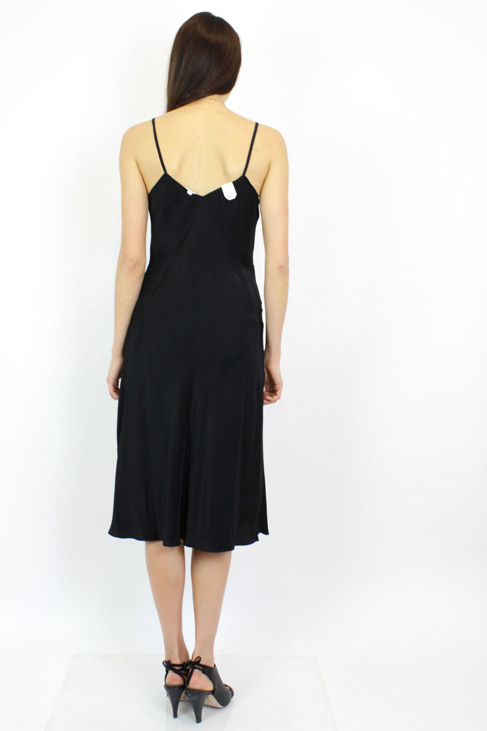 Embroidered Black Slipdress S
