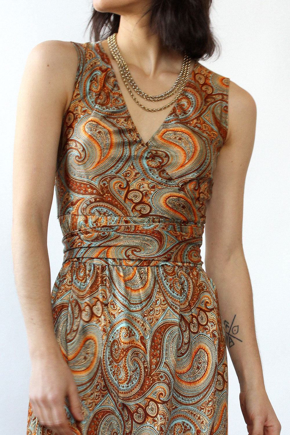 Golden Paisley Wrap Dress XS-M