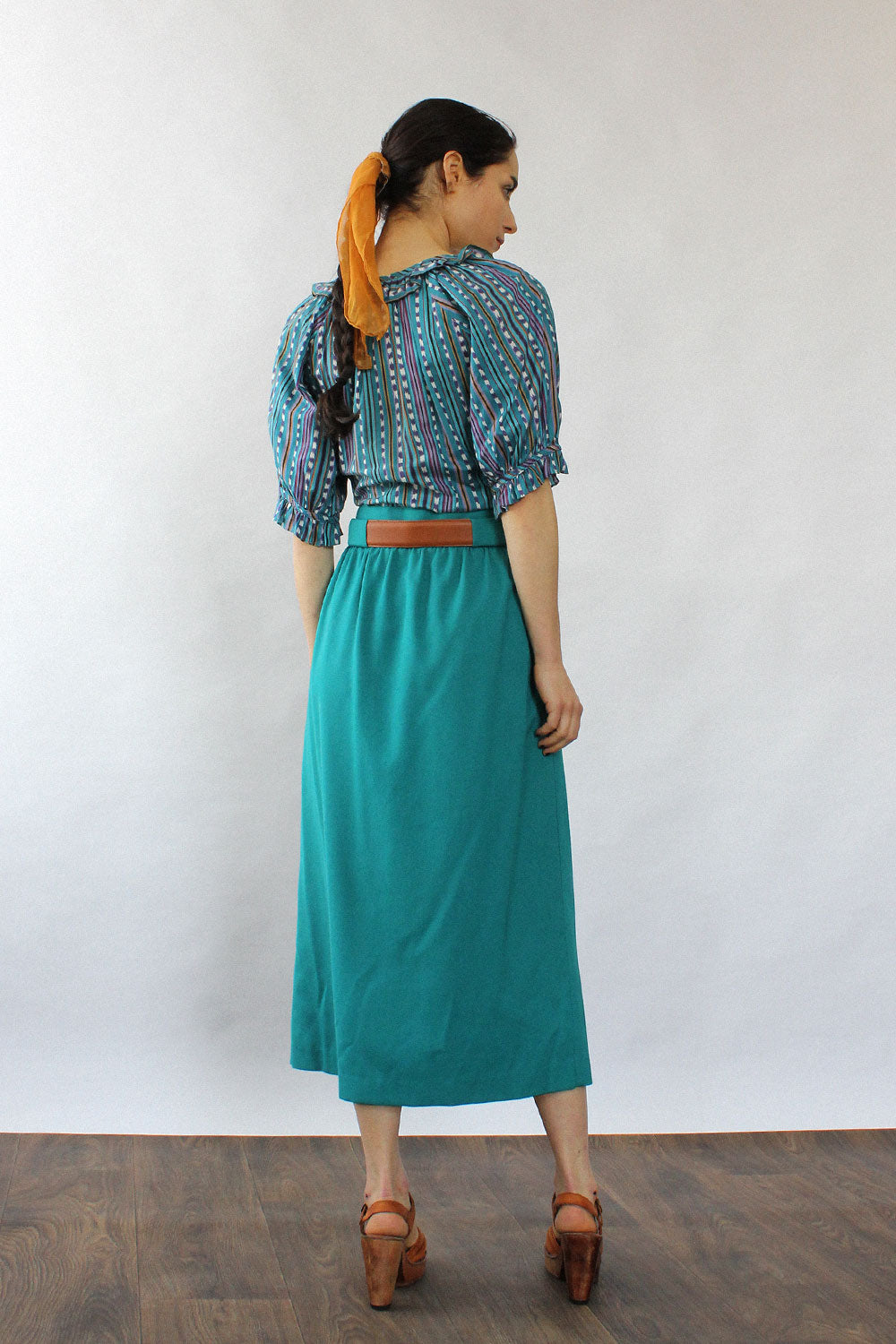 Lanzetta Teal Button Skirt S/M