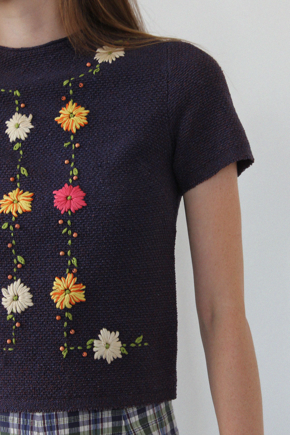 Marching Floral Embroidered Top S