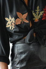 Autumnal Embroidered Silk Blouse M