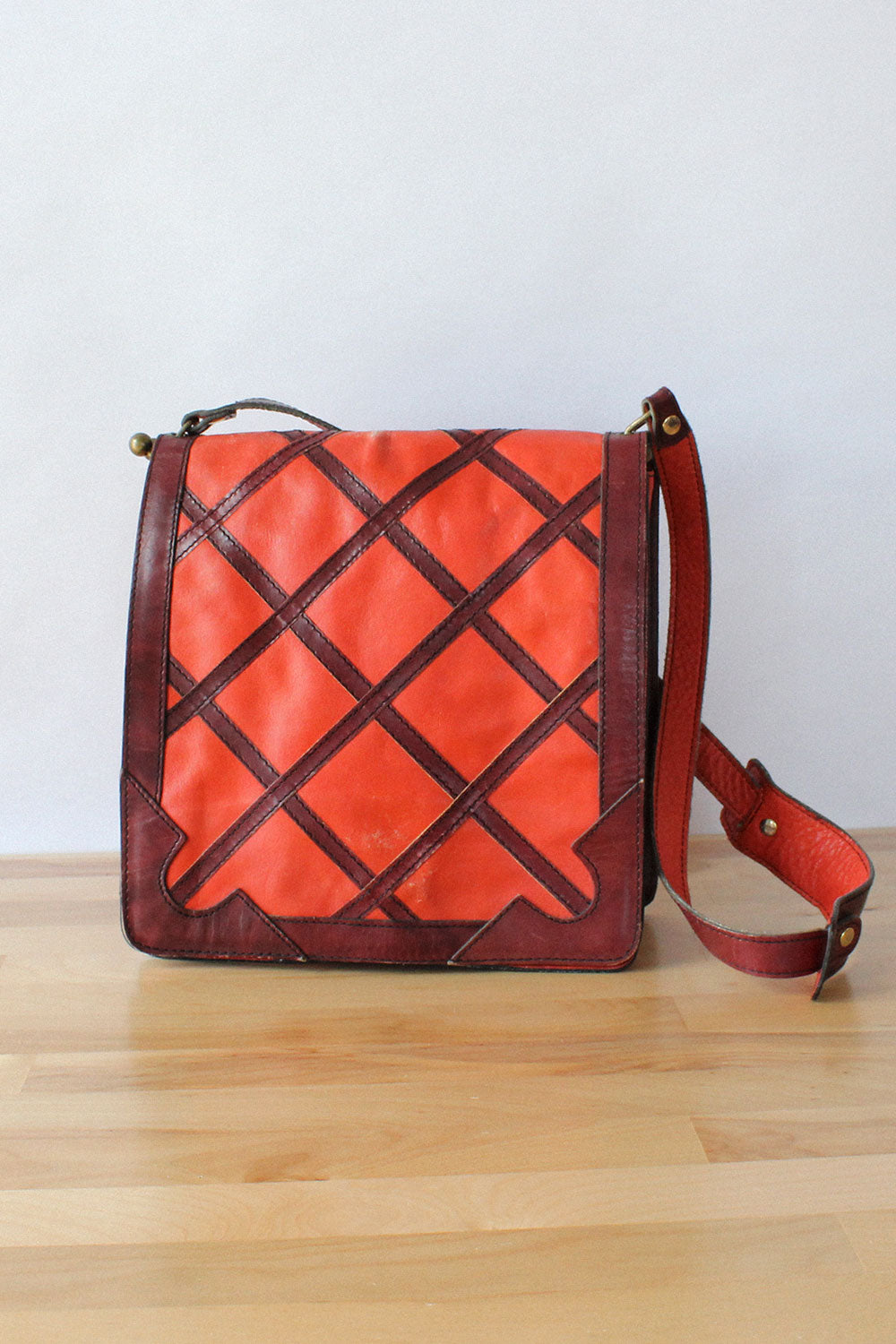 Brick Lattice Leather Satchel