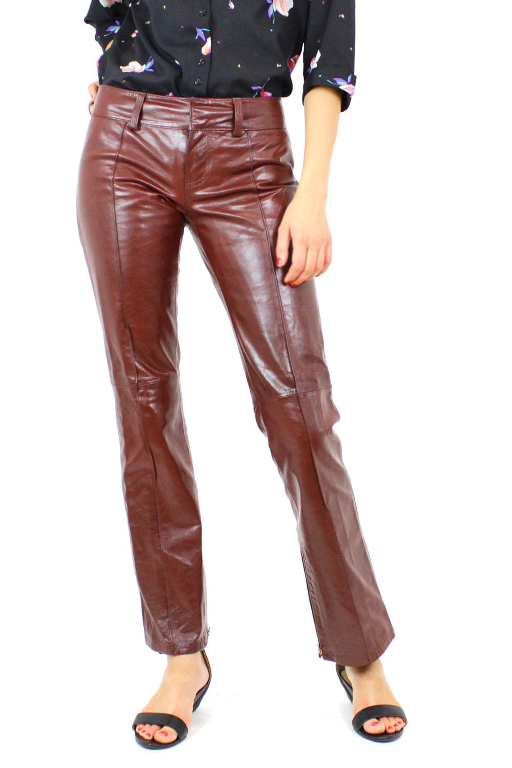 Burgundy leather jeans 2
