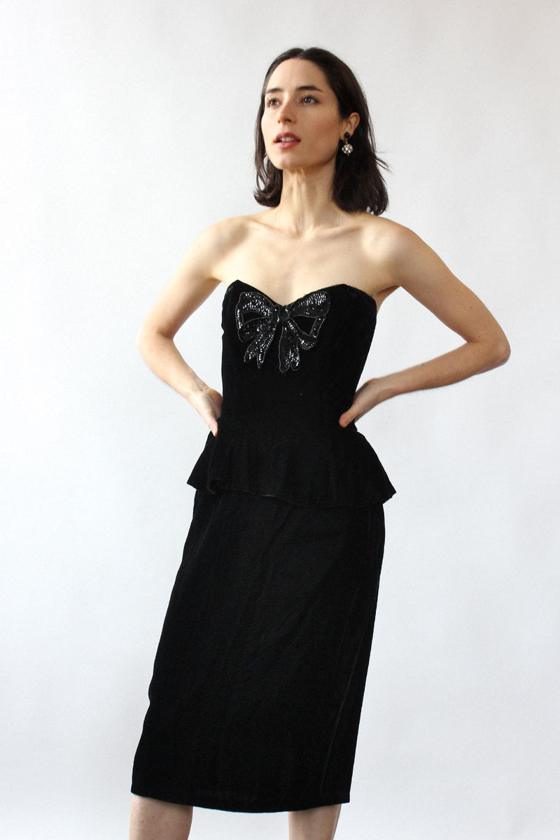 Gunne Sax Sequin Bow Velvet Dress XS