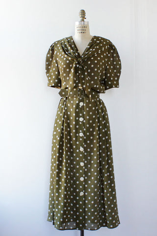 The Olive Polka Dot Dress M/L