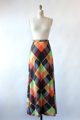 Tangerine Plaid Mini Skirt XS