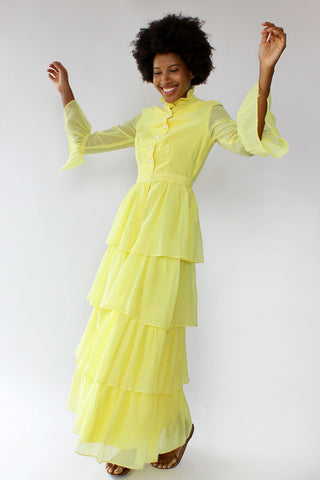 Lemon Swiss Dot Tiered Maxi Dress XS/S