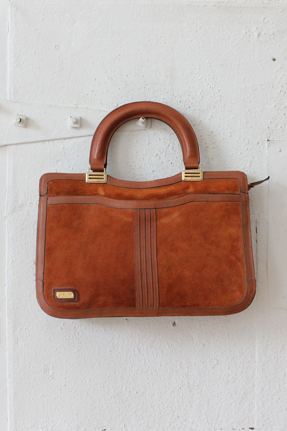 Phillippe Rust Suede Attache Bag