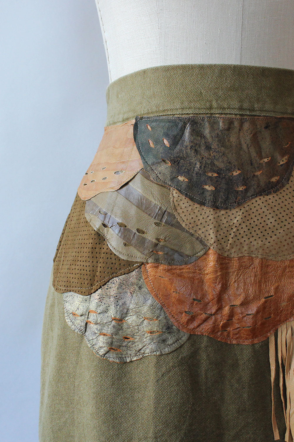 Khaki Collage Skirt M