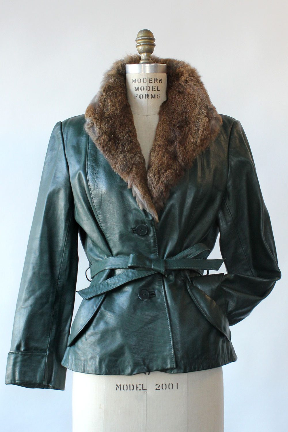 Green Leather Rabbit Fur Jacket S/M