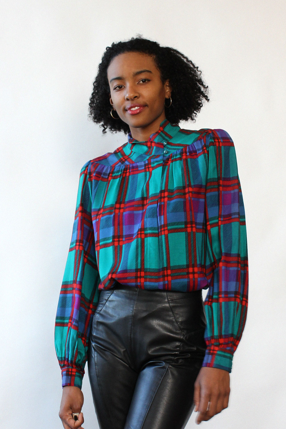 Liz Jewel Plaid Blouse M/L