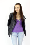 Draped Leather Jacket M