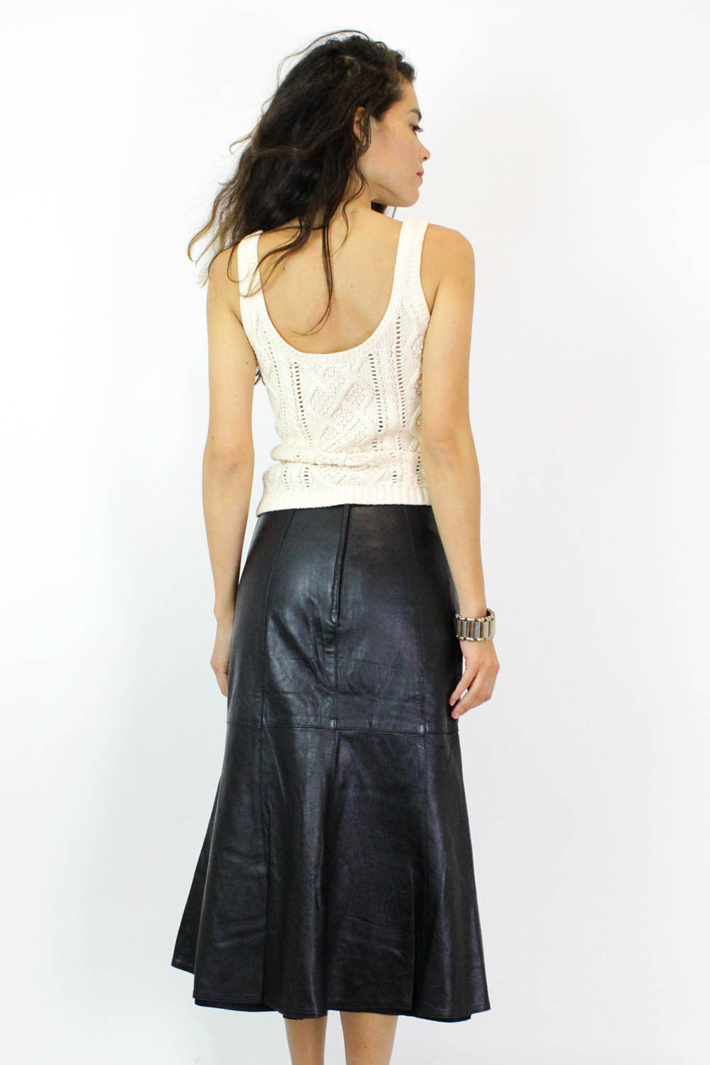 Black Leather Trumpet Flare Skirt M