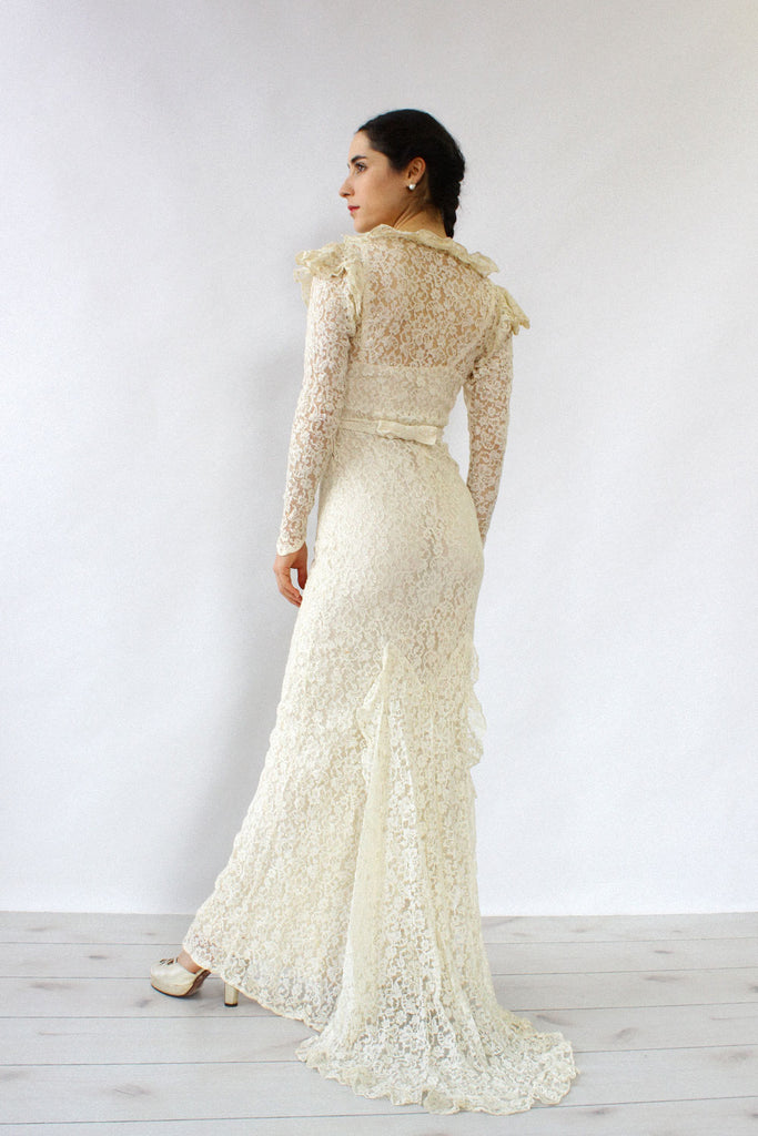1930s Ivory Lace Gown XS