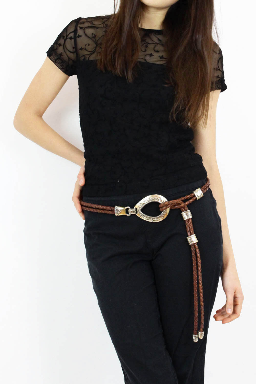 Brighton braided leather belt