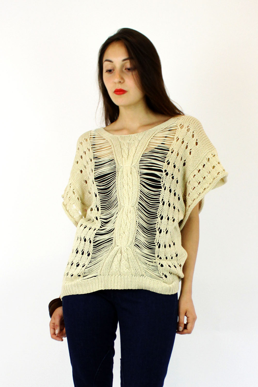 cream knit sweater