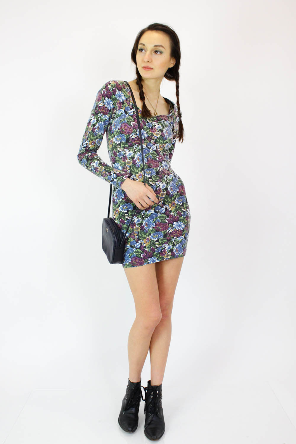90s Floral Bodycon Mini Dress S