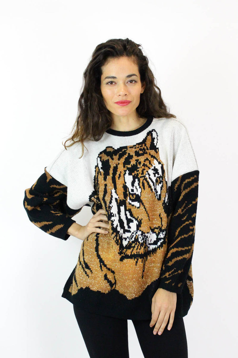 80s Lurking Tiger Slouchy Sweater