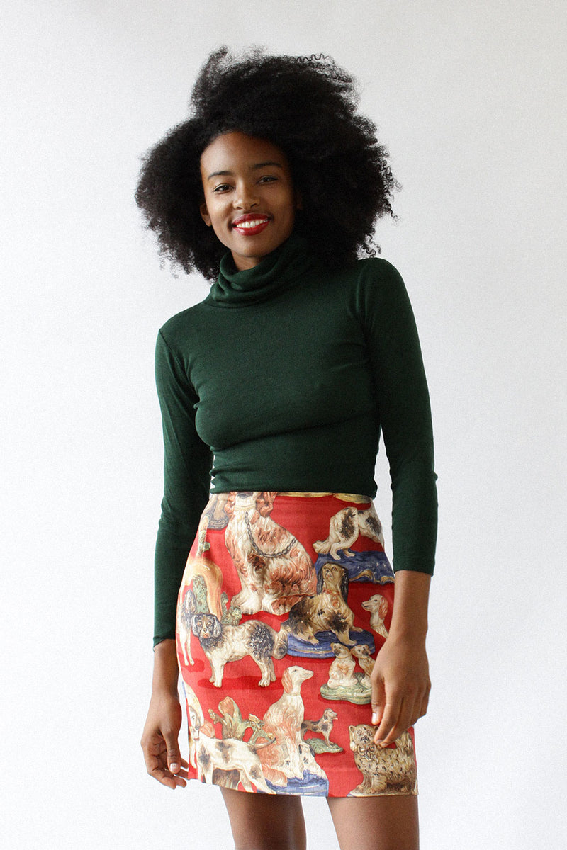 Fancy Dog Print Skirt M