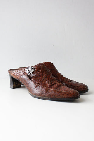Brighton Woven Leather Mules 9