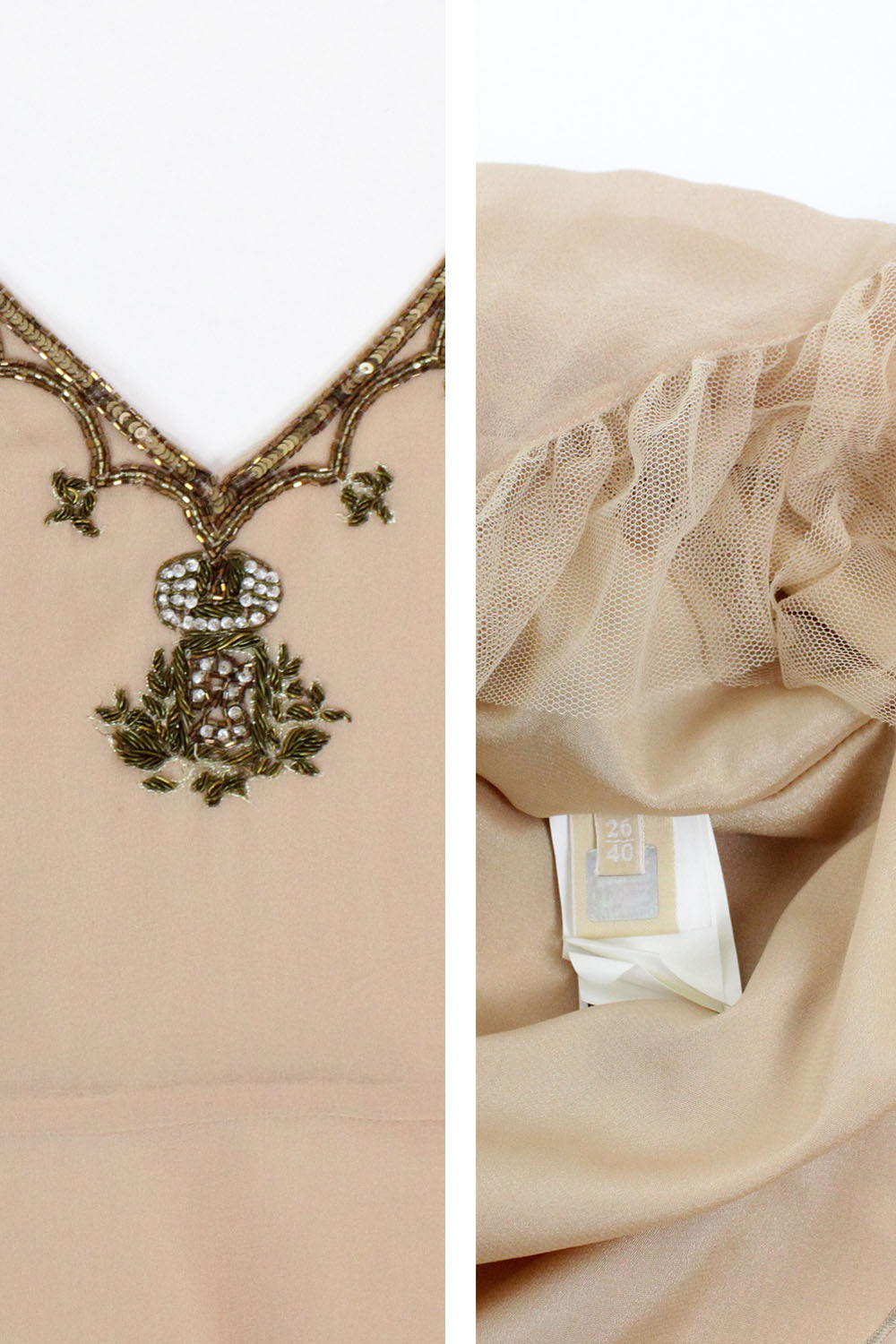 Galliano Blush Silk Embellished Dress
