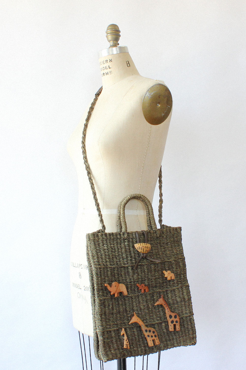 Wooden Animals Straw Tote