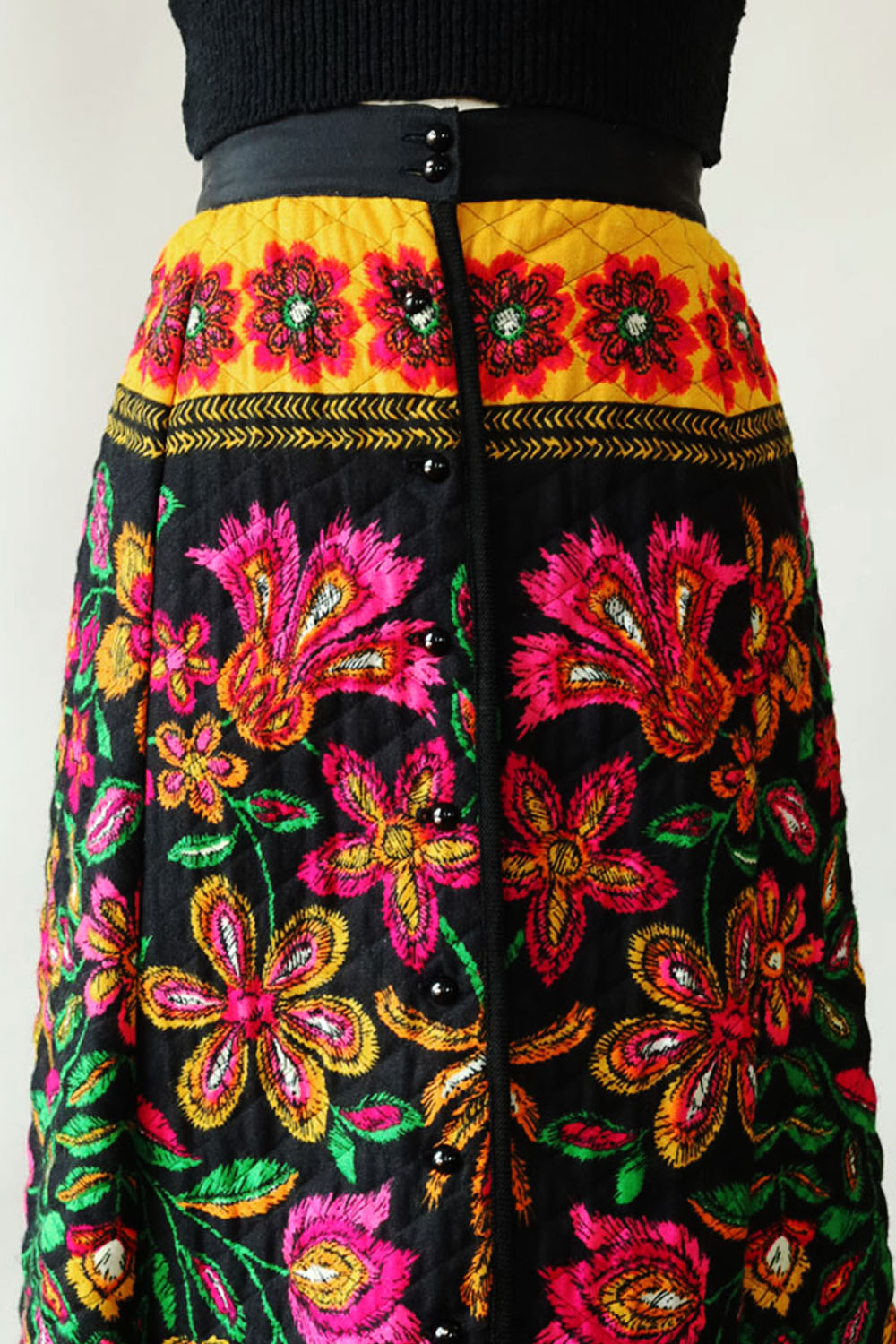 Technicolor Quilted Maxi Skirt S