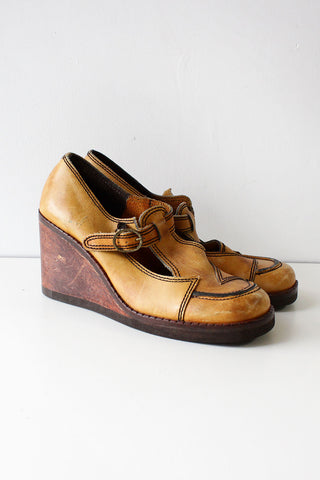 Ashbury Leather Wooden Wedges 8