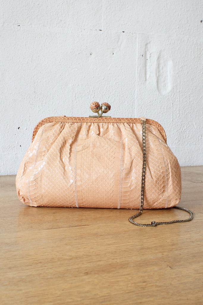Blush Snakeskin Kisslock Purse