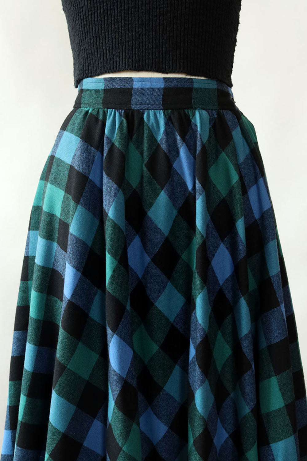 Box Plaid Swing Skirt XS