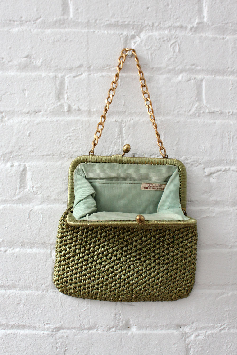 Moss Green Raffia Purse