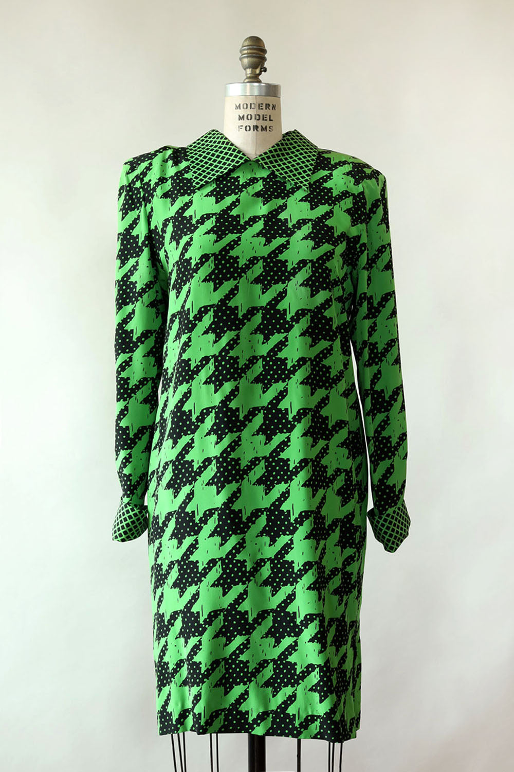 Lime Houndstooth Bill Blass Dress S/M