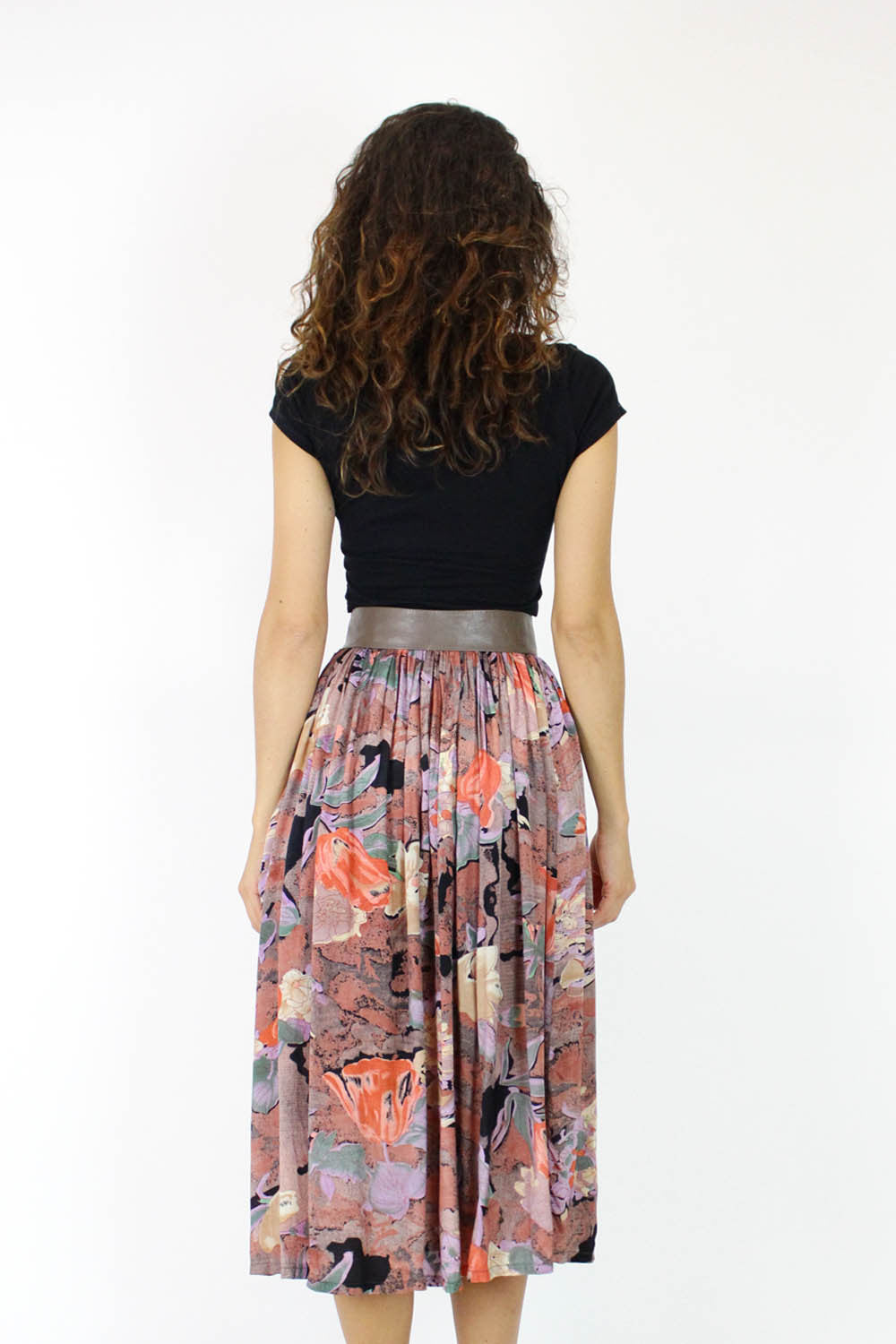 80s Dark Floral Pocket Skirt M/L
