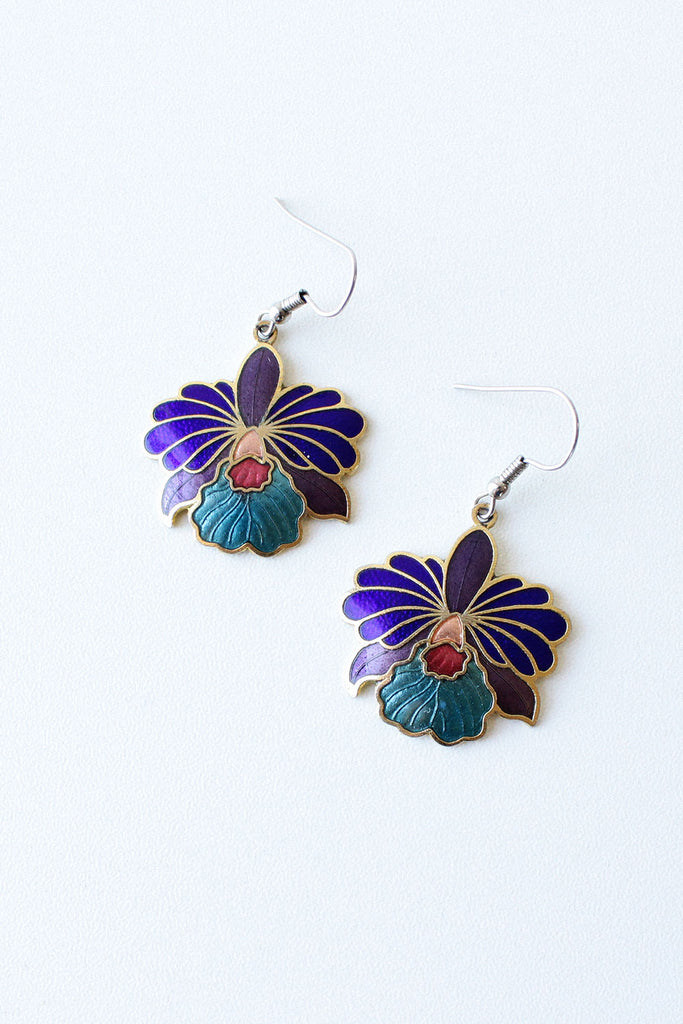 Orchid Enamel Earrings