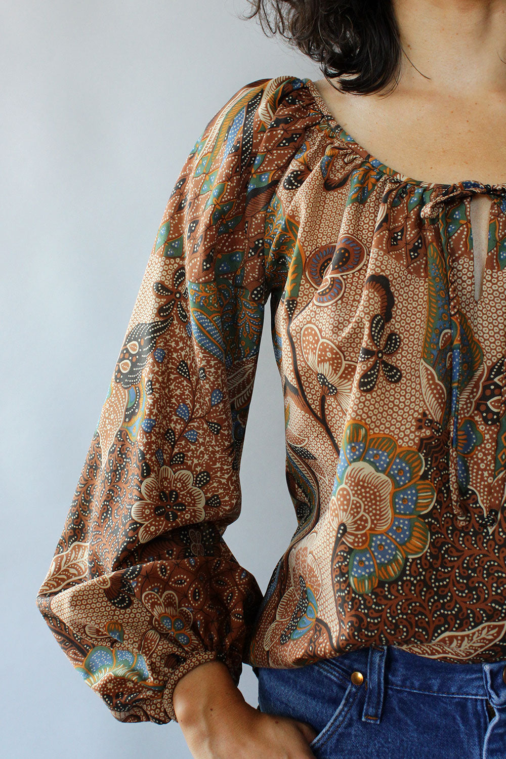 Chelsea Batik Bishop Sleeve Top M/L