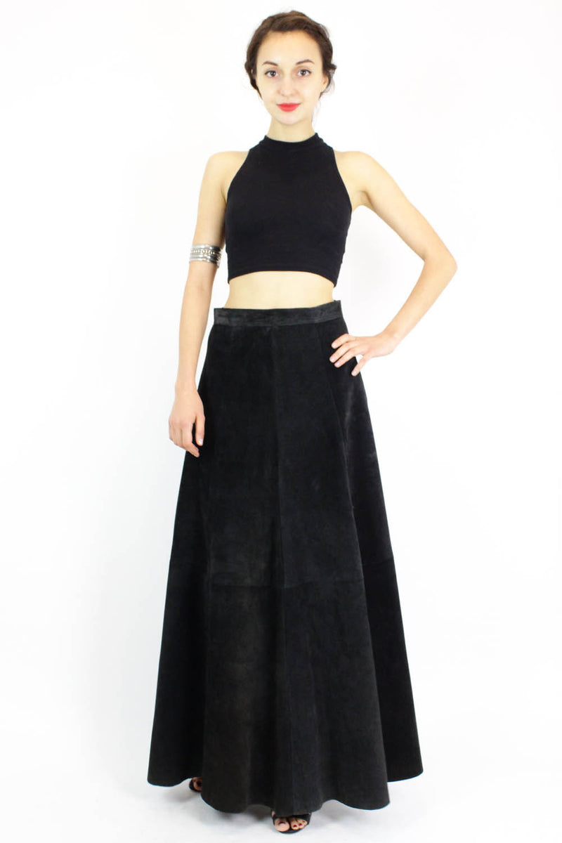 black suede maxi skirt M