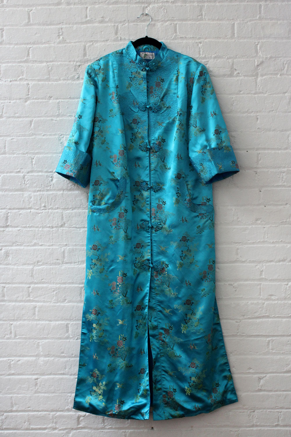 Teal Satin Embroidered Duster S-M/L