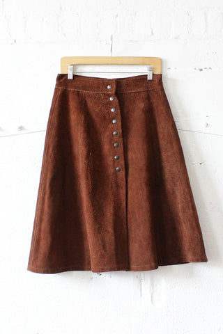 Chocolate 70s Suede Skirt M