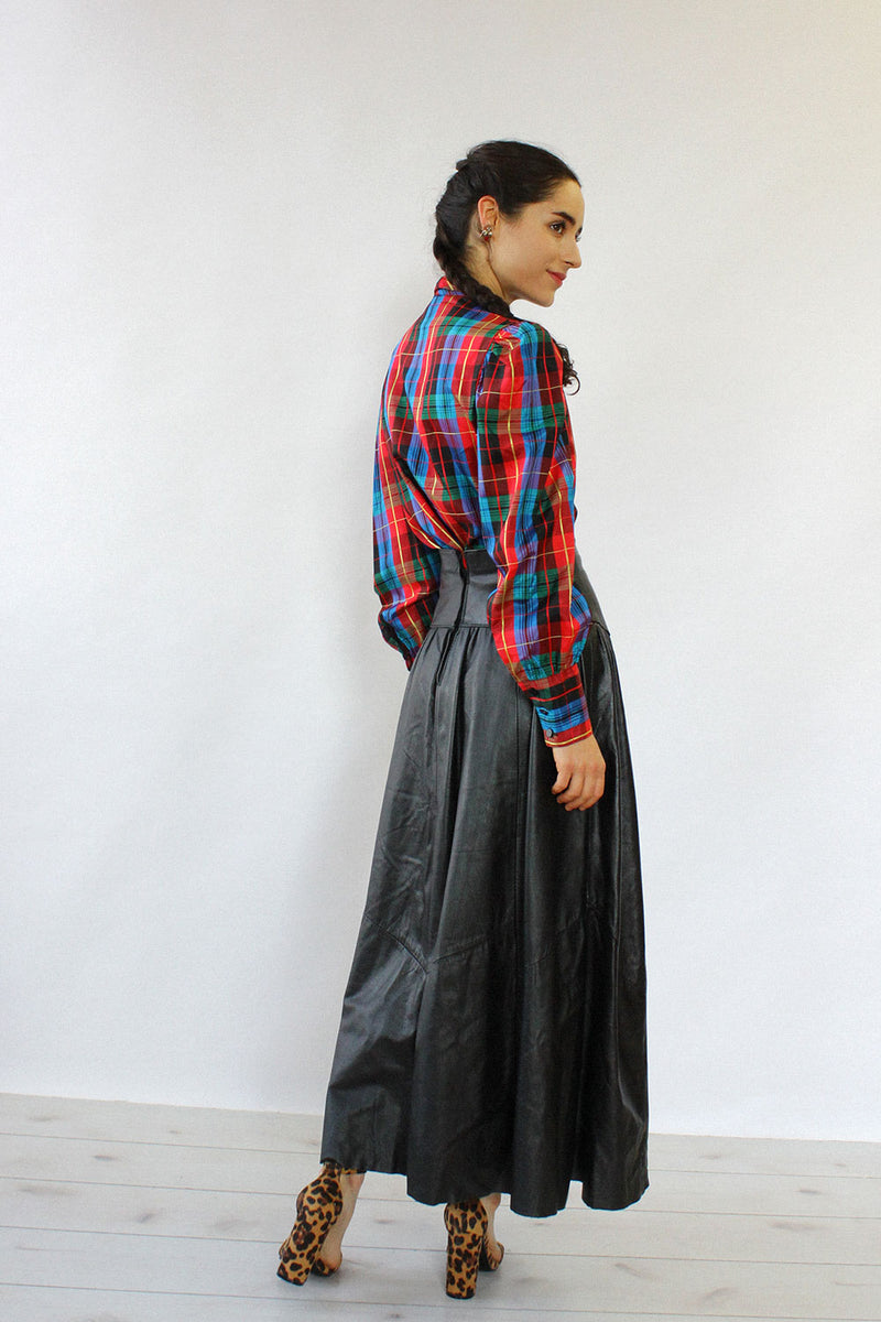 Black Leather Yoke Skirt S