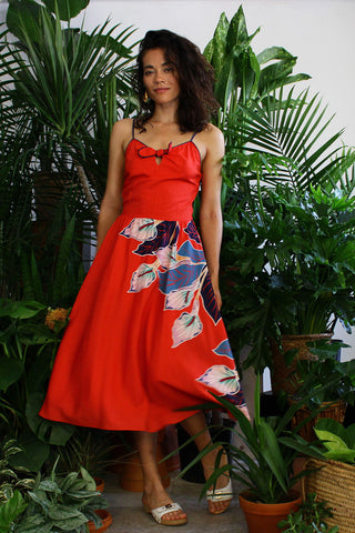 Red Bow Tropical Flare Dress S/M