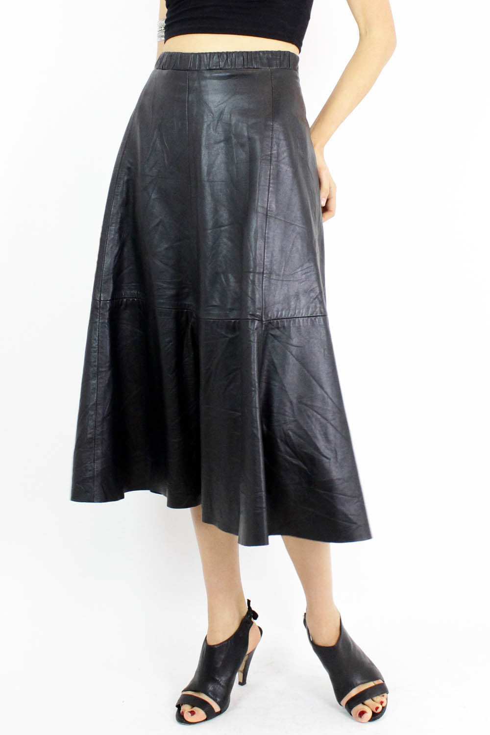 buttery leather midi skirt M