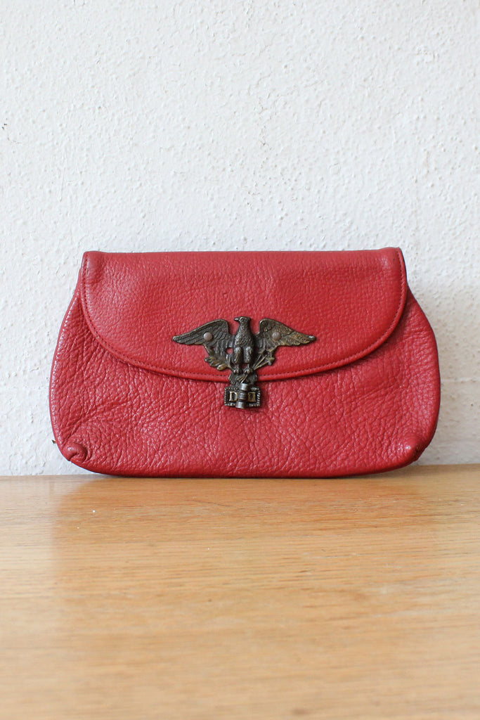 Cranberry Leather Eagle Pouch