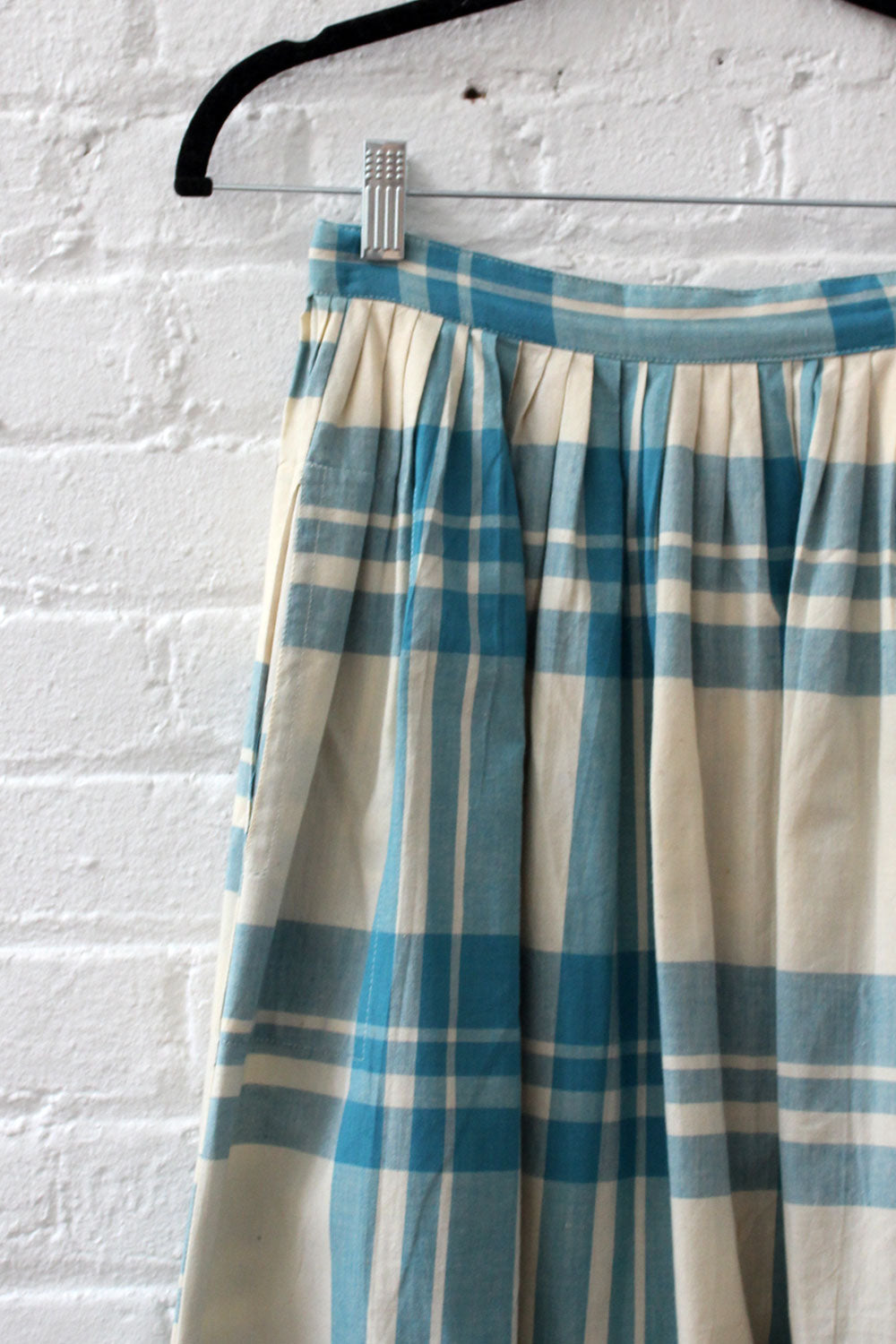 Teal & Ivory Plaid Cotton Skirt S
