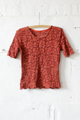 Brick Burgundy Lace Tee M/L