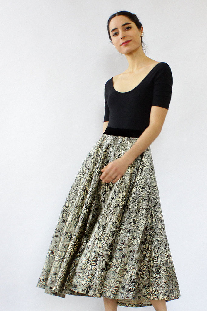 Flocked 50s Circle Skirt M/L