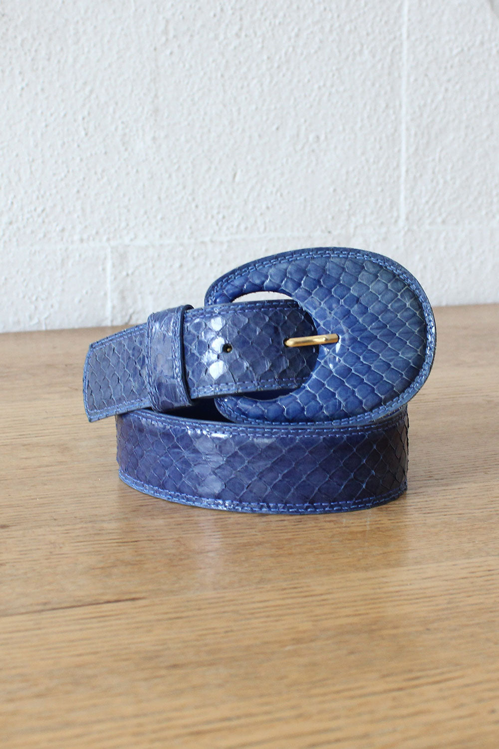 Rexx Blue Snakeskin Belt