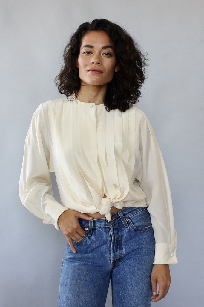 Billie Ivory Silk Blouse M